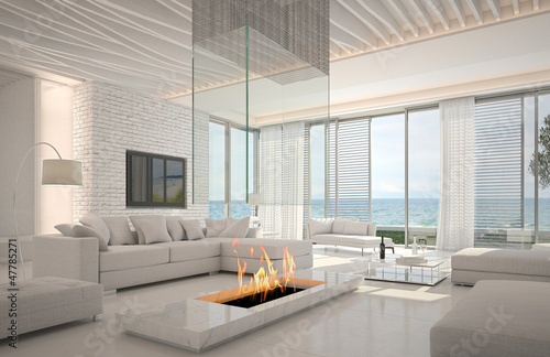 Fotografering Awesome beach waterfront interior room with sea view