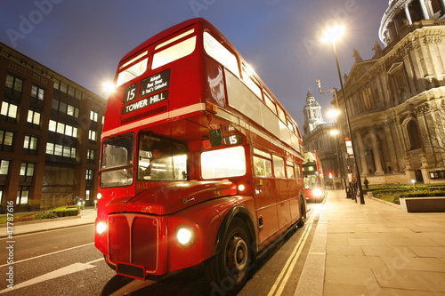 Photo  Iconic Routemaster Bus at dusk