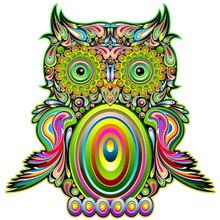 Owl Psychedelic Pop Art Design...