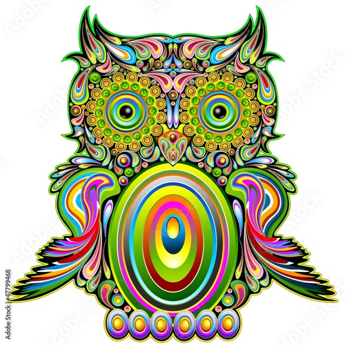 Poster Uilen cartoon Owl Psychedelic Pop Art Design-Gufo Psichedelico Decorativo