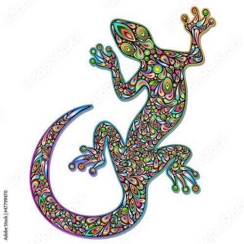 Photo sur Aluminium Draw Gecko Geko Lizard Psychedelic Art Design-Geco Psichedelico