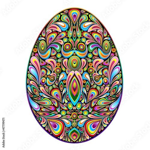 Foto op Canvas Bloemen vrouw Easter Egg Psychedelic Art Design Uovo di Pasqua Ornamentale