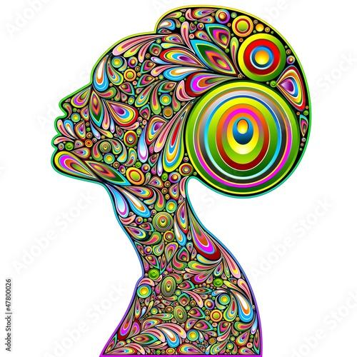 Foto op Canvas Bloemen vrouw Woman Psychedelic Portrait Design-Donna Ritratto Psichedelico