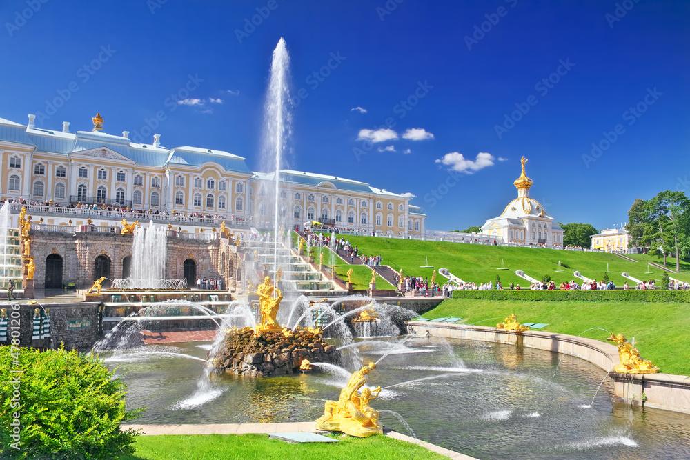 Fototapeta Grand cascade in Pertergof, Saint-Petersburg, Russia.