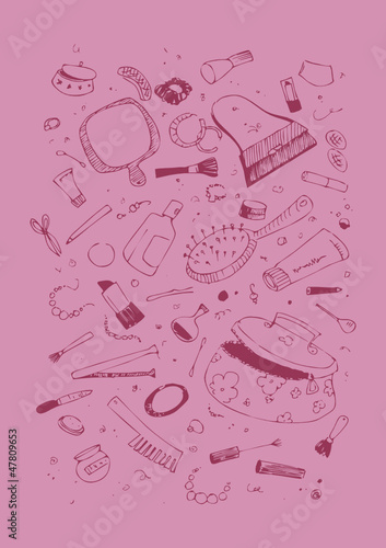 Poster Doodle Set of beauty and cosmetics products illustration