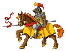 Medieval Knight On Horseback, Vector