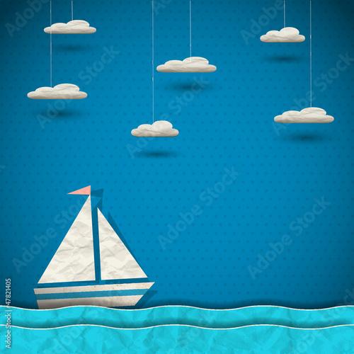 Fotografia  Sailing boat and clouds.Paper-art