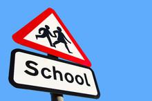 School Warning Sign On Blue Sky Background
