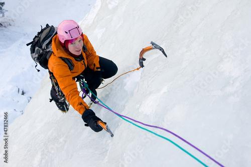 Fototapeta Ice climbing woman obraz