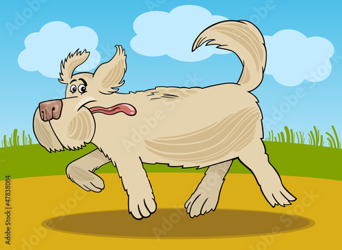 Foto op Canvas Honden Running sheepdog dog cartoon illustration