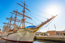 An Old Sailing Ship At Yokohama Harbor In Japan.