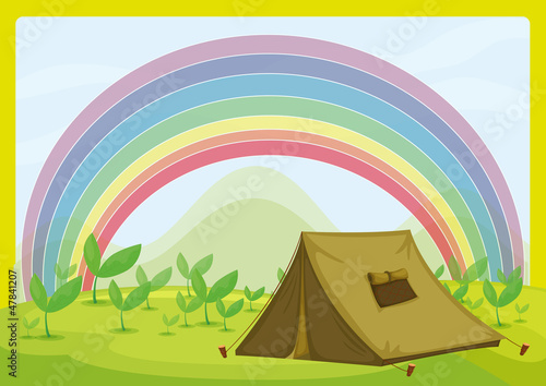 In de dag Fantasie Landschap A tent and a rainbow