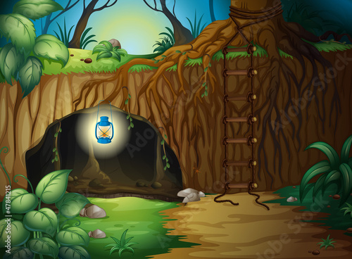 Poster Fantasy Landscape A cave in the jungle