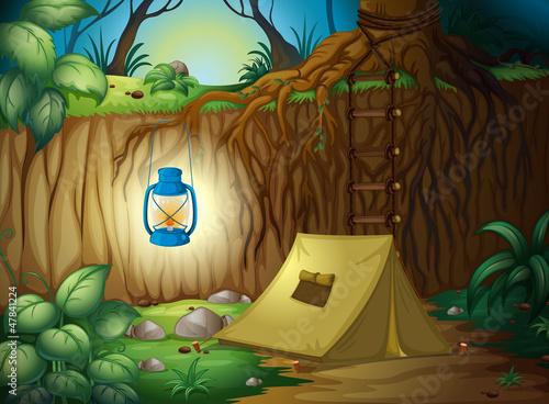 Deurstickers Fantasie Landschap Camping in the jungle