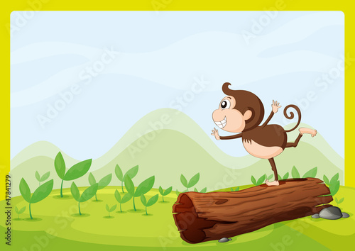 In de dag Fantasie Landschap A monkey dancing on wood
