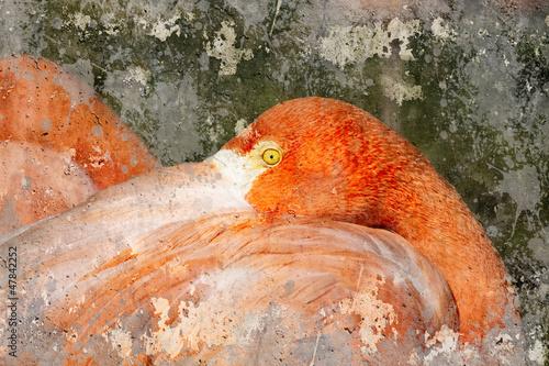 Nowoczesny obraz na płótnie Flamingo. Artistic image with background textures