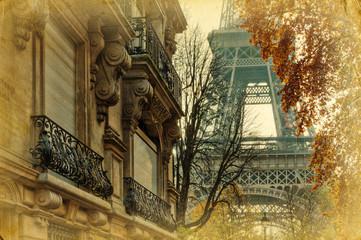 Fototapetanostalgisches Bild Pariser Stadthäuser und Eiffelturm