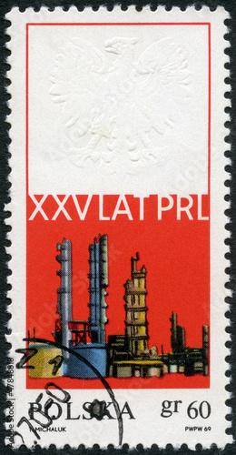 POLAND - 1969: shows Oil refinery-chemical plant Obraz na płótnie