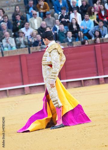 Poster Bullfighting SEVILLA -MAY 20: Novilladas in Plaza de Toros de Sevilla. Novill
