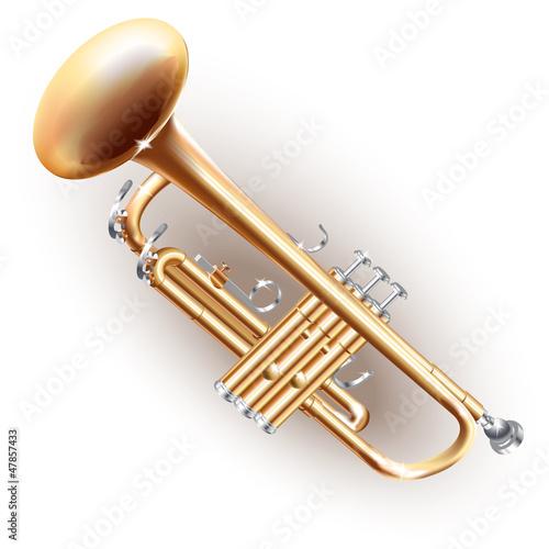 Photo  Classical brass trumpet