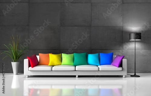 Sofa Bunte Kissen