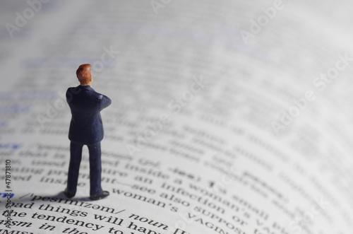 Fotografie, Obraz  辞書とビジネスマン