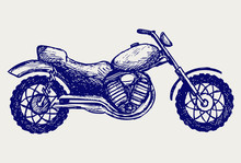 Classic Motorcycle. Doodle Style
