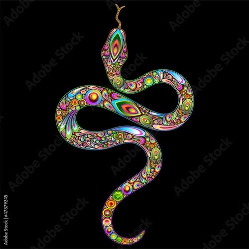 Aluminium Prints Draw Snake Psychedelic Art Design-Serpente Simbolo Psichedelico