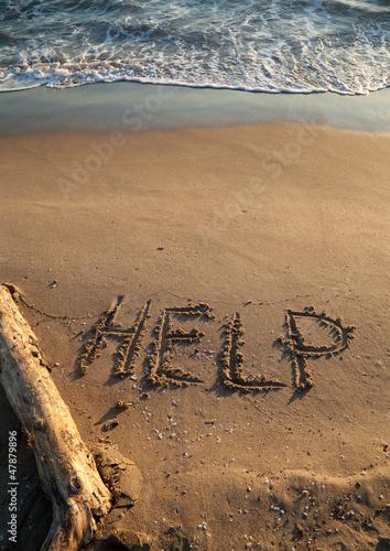Fotografía  Messaggio di aiuto, richiesta di salvataggio
