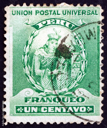 Fotografie, Obraz  Postage stamp Peru 1898 Manco Capac, Inca Dynasty