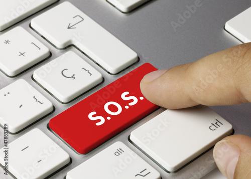 Vászonkép S.O.S. keyboard key. Finger