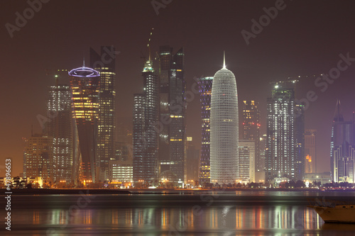 Canvas Prints New York Doha skyline at night, Qatar, Middle East