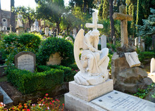 Non-Catholic Cemetery In Rome, Italy. Marble Sculpture On Grave.