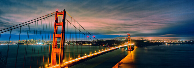panoramic view of Golden Gate Bridge by night