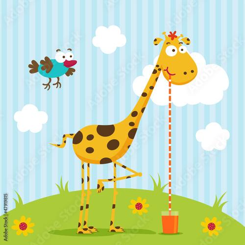 wektor-zyrafa-i-ptak