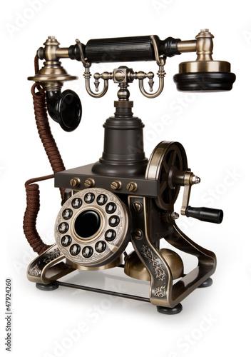retro-telefon-rocznika-telefon-odizolowywajacy-na-bialym-tle