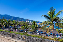 Playa Jardin And Teide Peak In Puerto De La Cruz, Tenerife