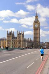 Fototapeta na wymiar Running jogger on Westminster bridge with Big Ben