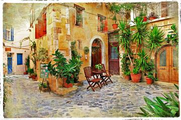 Fototapeta Do restauracji Chania,Crete- old charming streets