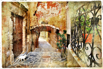 Fototapeta samoprzylepna pictorial old streets of Greece, Crete