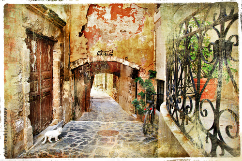 pictorial old streets of  Greece, Crete