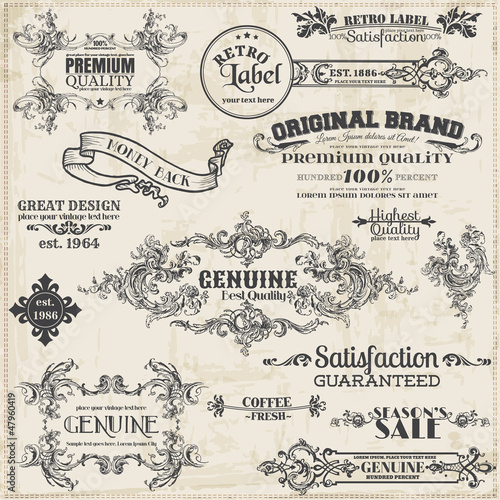 Obraz Vector Set: Calligraphic Design Elements and Page Decoration - fototapety do salonu