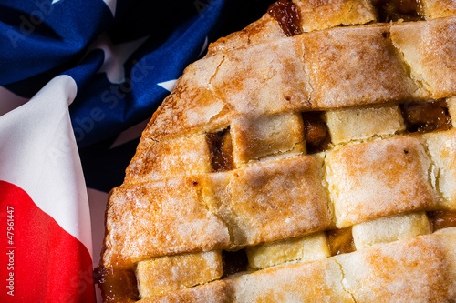 Photo  Homemade American Tradition Baked Apple Pie