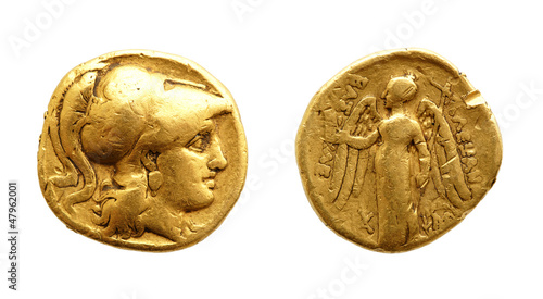 Cuadros en Lienzo Two sides of an ancient greek gold coin with Alexander the Great.