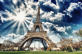 Fototapeta City - Wonderful view of Eiffel Tower in all its magnificence - Paris