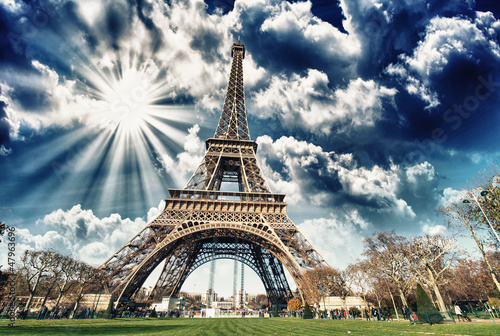 Photo Stands Paris Wonderful view of Eiffel Tower in all its magnificence - Paris
