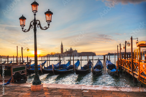 Foto op Canvas Venice Gondolas floating in the Grand Canal