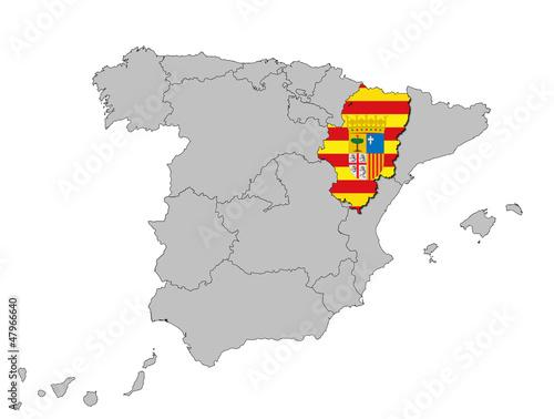 Fotografía Aragonien auf den Umrissen Spanien's