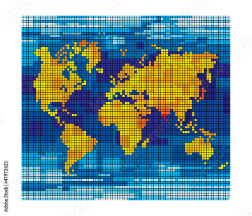 Poster Carte du monde Pixel world map