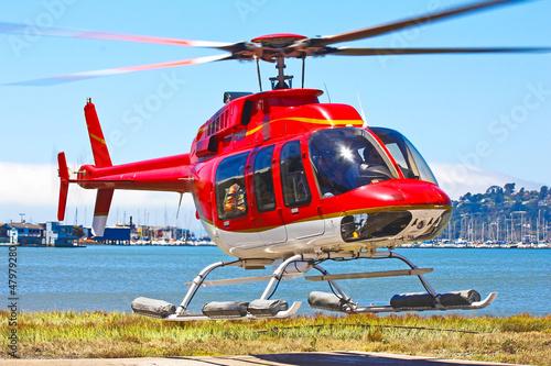 Poster Helicopter Startender Hubschrauber Bell 407 von malerischem Landeplatz